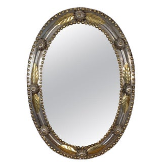 Brass and Steel Oval Mirror For Sale