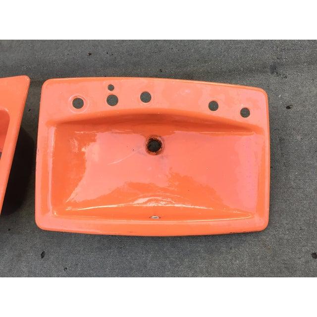 Mid-Century Burnt Orange Cast Iron Sink - Image 2 of 8