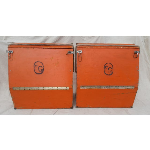 A pair of rustic, vintage, western, orange painted wood horse panniers from a ranch in Southern Colorado. Fantastic color,...