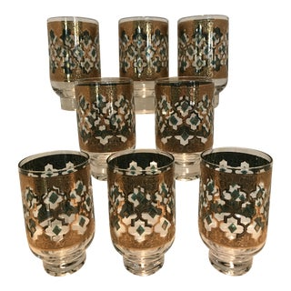 Culver Valencia 22k Gold & Green Pedestal Highball Glasses - Set of 8