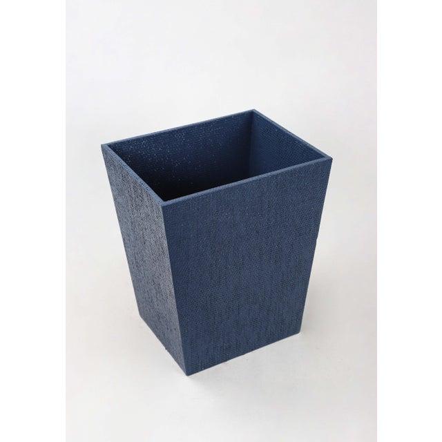Blue Linen Covered Waste Basket For Sale - Image 4 of 7
