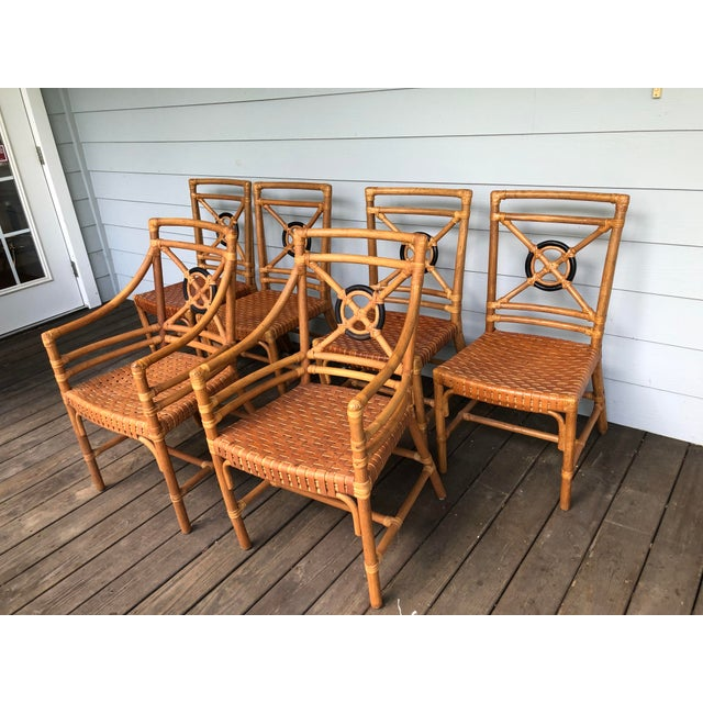 McGuire Rattan Rawhide Target Chairs- Set of 6 For Sale - Image 10 of 13