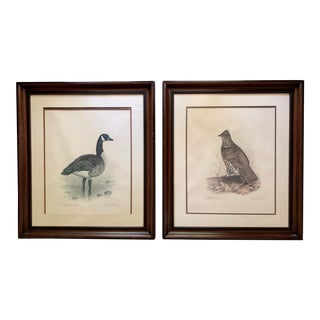 1970s Vintage Robert White 'Ruffled Grouse & Canadian Goose' Numbered & Signed Lithographs - A Pair For Sale