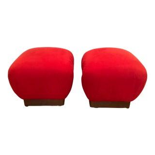 1970s Mid-Century Modern Karl Springer Style Red Velvet Soufflé Poufs Ottomans - a Pair