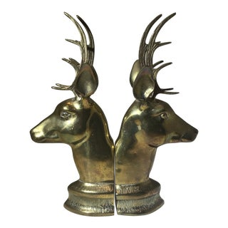 Vintage Mid-Century Brass Deer Bookends - A Pair For Sale