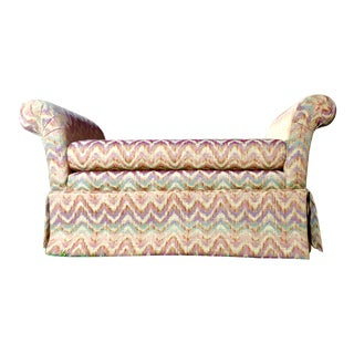 Ethan Allen Chevron Upholstered Scroll Arm Bench For Sale