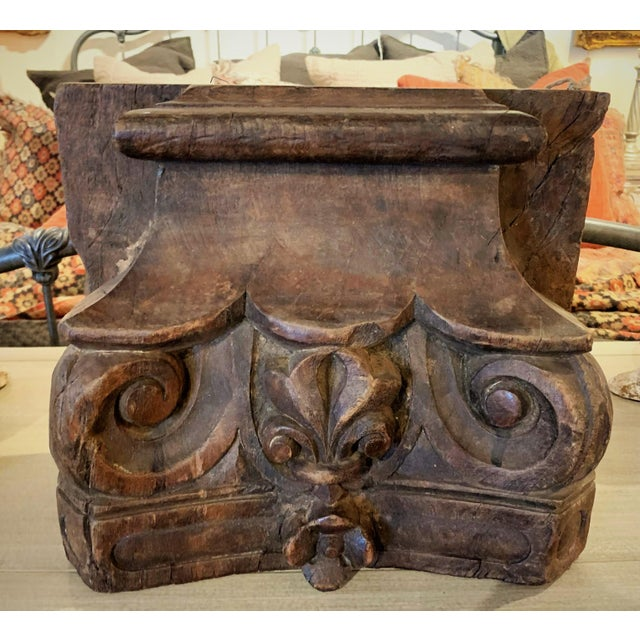 English Colonial Indian Carved Teak Column Base Architectural Element. Made out of solid teak wood featuring beautiful...