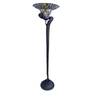 Hand Casted Bronze Snake Floor Lamp W/ Stained Glass Shade For Sale