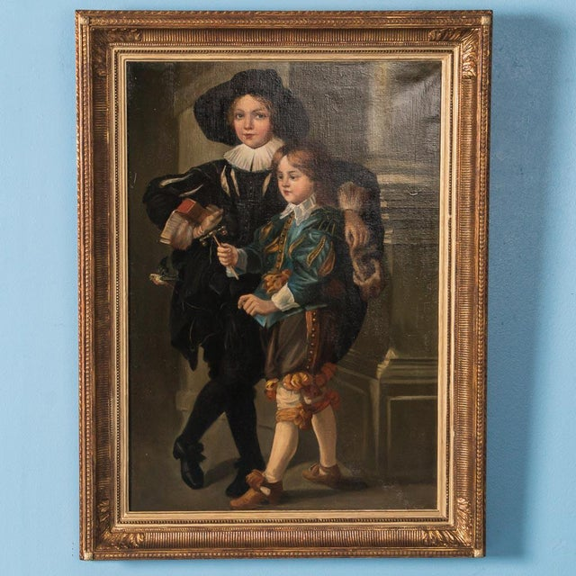 18th Century Antique Original German Portrait of Two Young Boys Oil Painting For Sale - Image 6 of 6