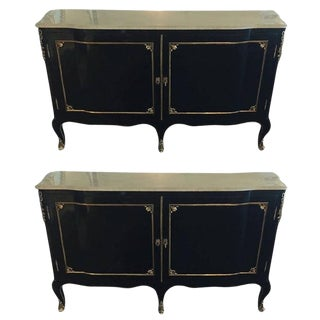 Pair of Palatial Marble-Top or Commodes With Bronze Mounts Attrib to Jansen For Sale