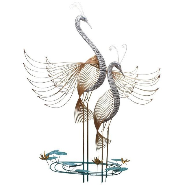 Brass Wall Sculpture 'Herons' by Curtis Jere For Sale - Image 7 of 7