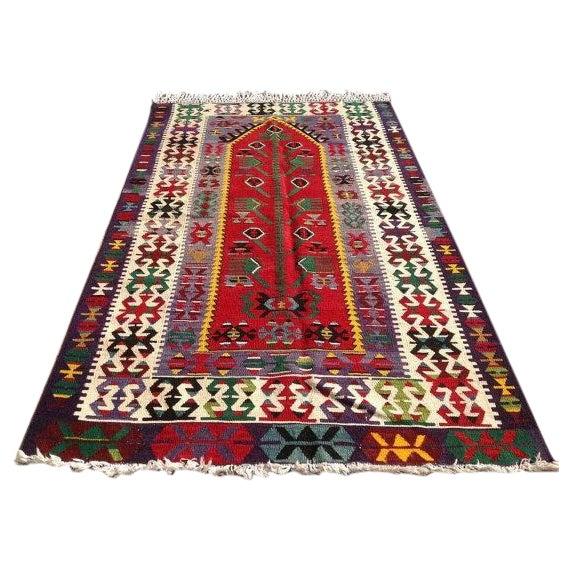 """Vintage Turkish Kilim Rug - 4'2"""" x 7'1"""" - Image 1 of 6"""