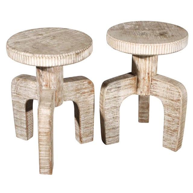 African African Inspired Tribal Cerused Stools - a Pair For Sale - Image 3 of 6