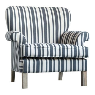 Striped Fabric Classic Armchair For Sale