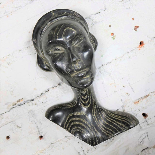 Black Art Deco Style Ebonized Oak Carved Female Bust Vintage Wall Sculptures, a Pair For Sale - Image 8 of 13