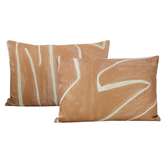 "12"" X 18"" Graffito Salmon + Cream Lumbar Pillows - a Pair For Sale"