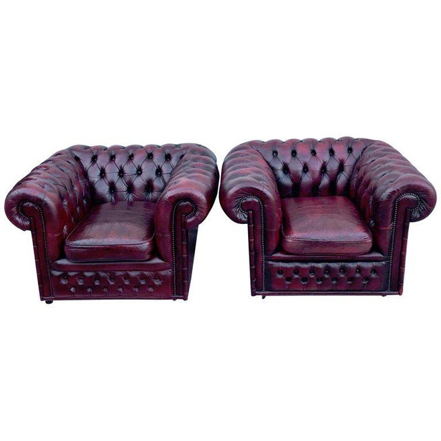 Pair of English Red Leather Chesterfield Club Chairs With Faux Bamboo Detail For Sale - Image 13 of 13