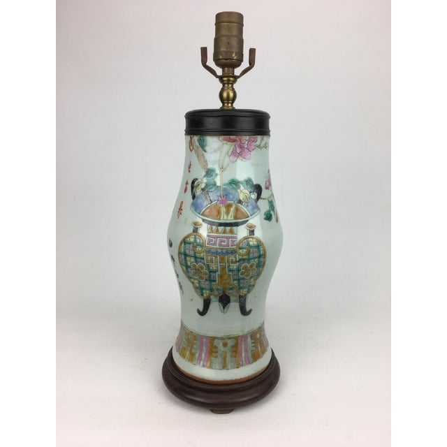 Asian Famille Rose Vintage Table Lamp For Sale - Image 3 of 5