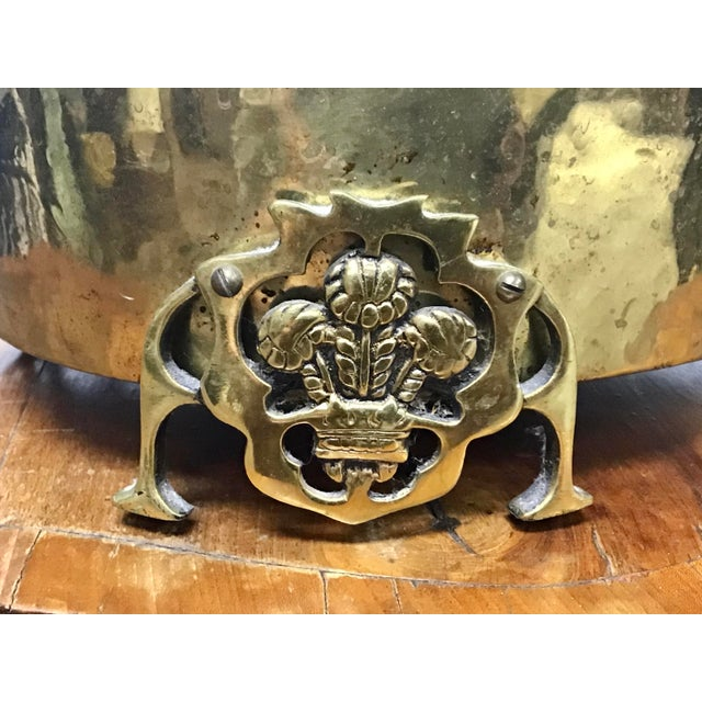 Metal English Brass Prince of Wales Footed Planter For Sale - Image 7 of 9