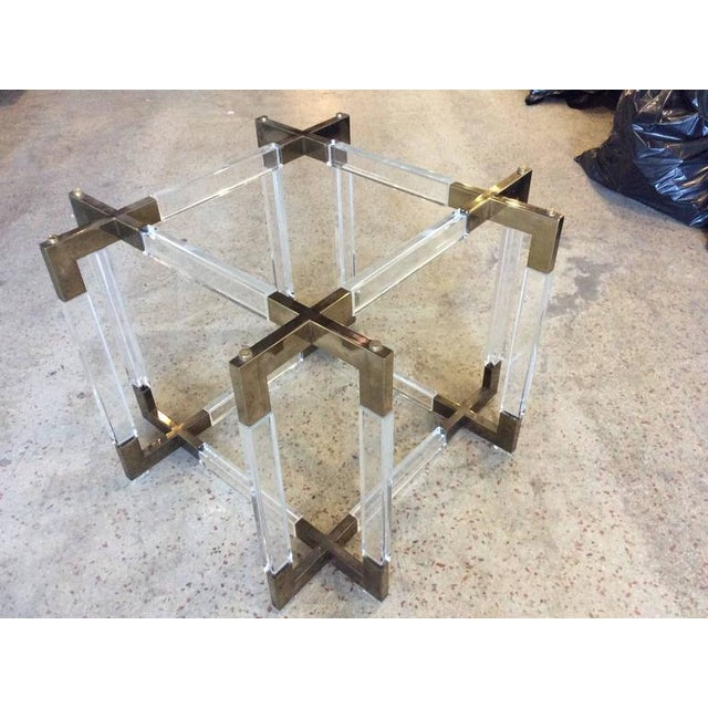 Charles Hollis Jones Vintage CHJ Lucite & Brass Metric Dining Table Base For Sale In West Palm - Image 6 of 11