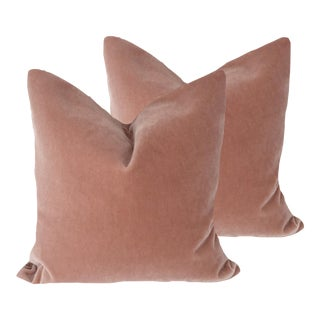 Brunschwig and Fils Rose Bisque Mohair Velvet Pillows - a Pair