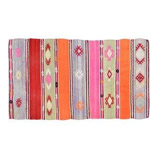 "Vintage Turkish Anatolian Hand Made Organic Wool Natural Color Dowry Kilim,2'x3'3"" For Sale"