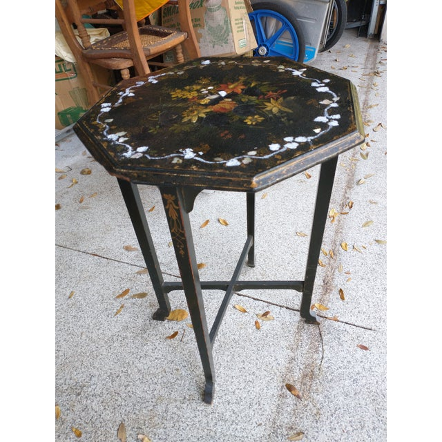 I inherited this octagonal table from my parents. I did try adding crushed mother of pearl where it had been worn away and...