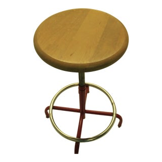 Vintage Industrial Metal & Wood Adjustable Bar Stool