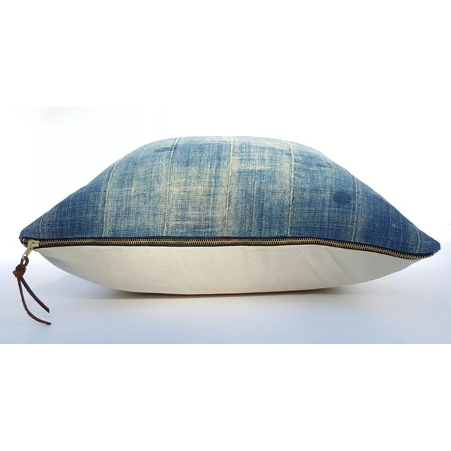 Faded Denim African Mud Cloth Pillow Cover - Image 5 of 6