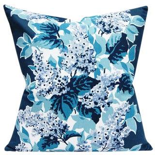 Cottage Style Indigo Floral Linen Decorative Pillow Cover For Sale
