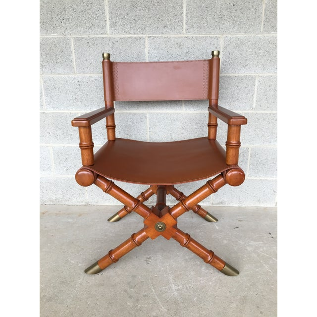 High Quality Leather Directors Chair, Solid High Quality Craftsmanship, Excellent Pre-Owned Condition, Less than Normal...
