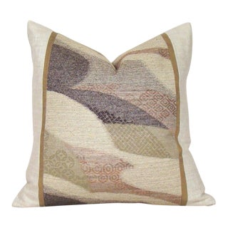 Handwoven Raw Silk Japanese Obi Pillow Cover For Sale