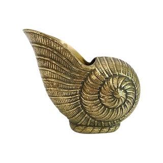 Vintage Brass Nautilus Shell Planter For Sale