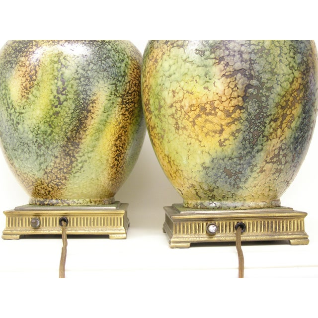Pair Mid-Century Modern Asian Ceramic Pottery Lamps Green MCM James Mont Style For Sale - Image 10 of 11