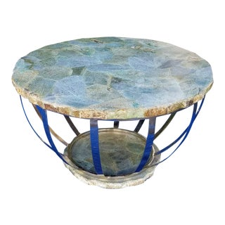 Anthropologie Round Malachite Stone Coffee Table For Sale