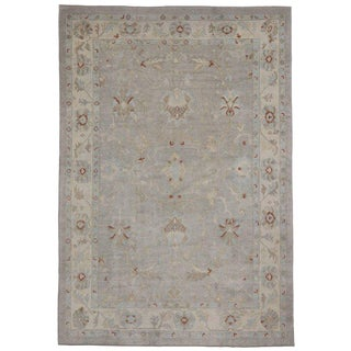 Contemporary Turkish Oushak Rug with Modern Style and Light Colors
