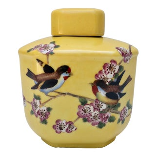 Chinese Inspired Bud Vase With Lid For Sale