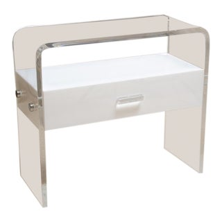 Lucite Bedside Table With White Lucite Drawer