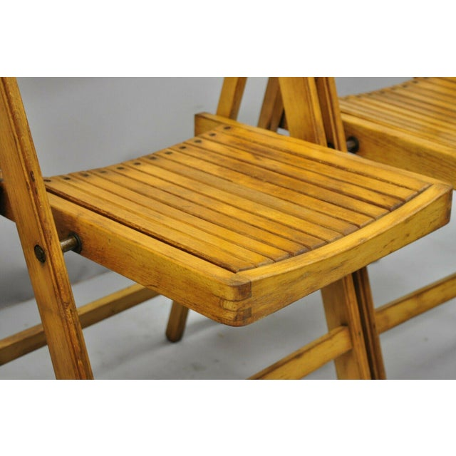 1950s Vintage Wood Slat Folding Dining Game Chairs- Set of 4 For Sale - Image 4 of 11