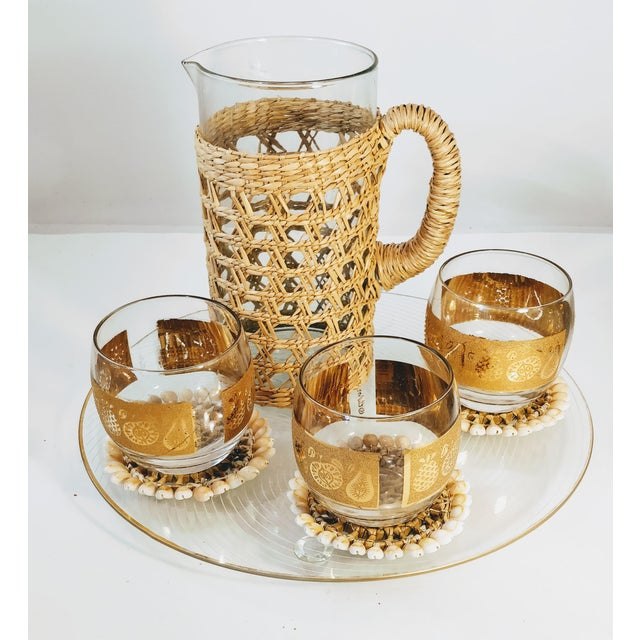 Boho Chic Vintage Pitcher Rattan Wrapped Cocktail Server For Sale - Image 3 of 6