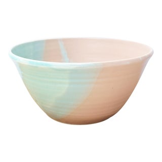 Pink, Blue, & Green Abstract Pattern Studio Pottery Bowl For Sale