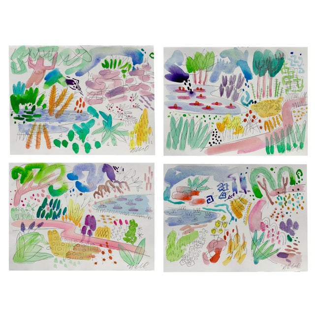 English, Garden, Pond, Original Watercolor Set of Four Paintings For Sale In Portland, OR - Image 6 of 6
