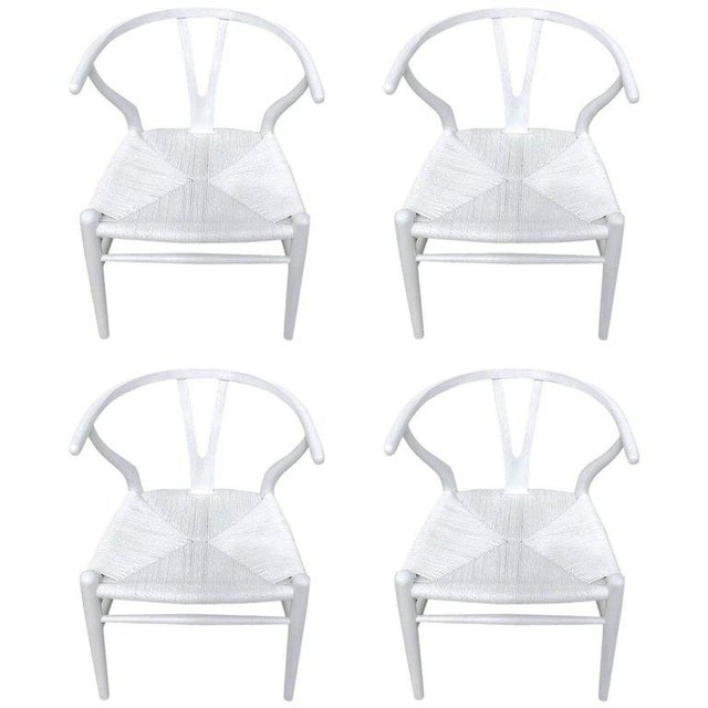 White Hans Wegner Wishbone Chairs, CH24 in White - Set of 4 For Sale - Image 8 of 8