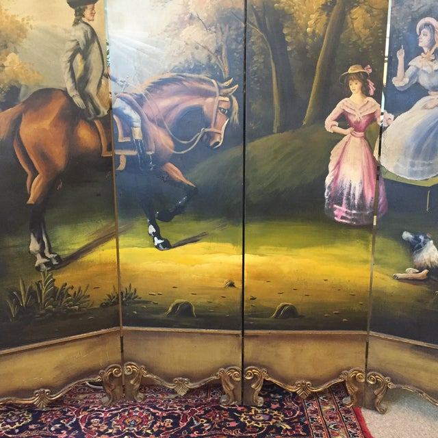 Hand Painted Colonial Scene Divider Screen For Sale - Image 5 of 11