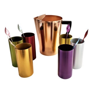 Vintage Mid-Century Modern Anodized Colored Aluminum Tumblers, Stirrers, Pitcher Set of 13 Pieces For Sale