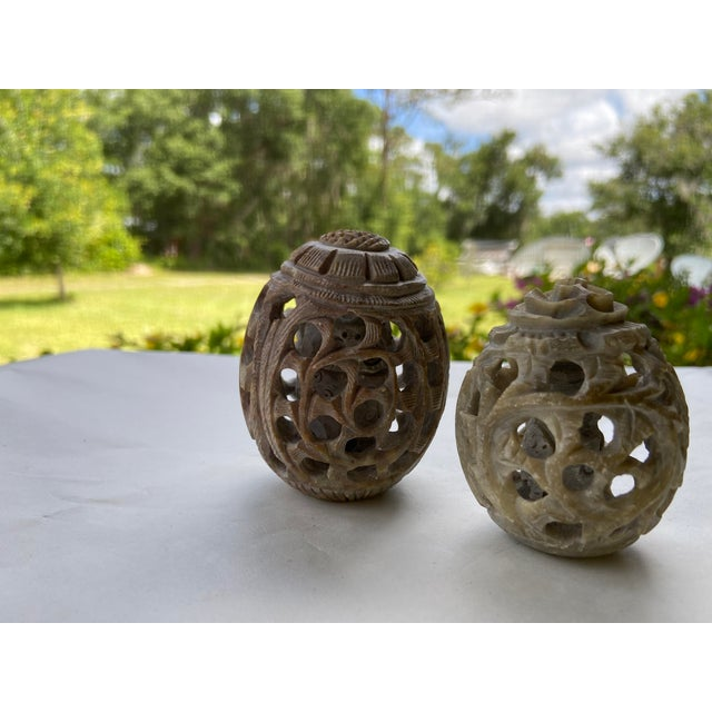 Vintage Stone Hand-Carved Eggs- a Pair For Sale - Image 11 of 12