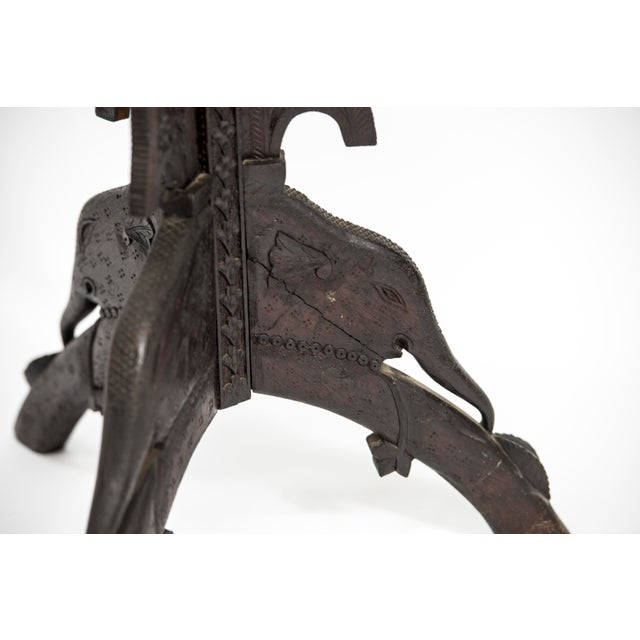 Anglo Indian Highly Carved Ebonized Plant Stand Antique For Sale - Image 4 of 8