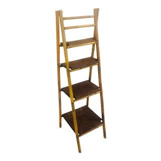 Bamboo Folding 4 Shelf Ladder For Sale