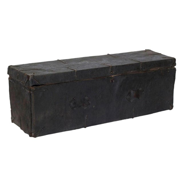 Tibetan Black Wood Leather & Iron Trunk For Sale - Image 5 of 5
