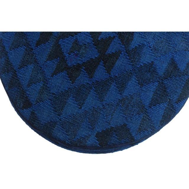 Arshs Deandre Blue/Drk. Blue Kilim Upholstered Handmade Ottoman For Sale In New York - Image 6 of 8